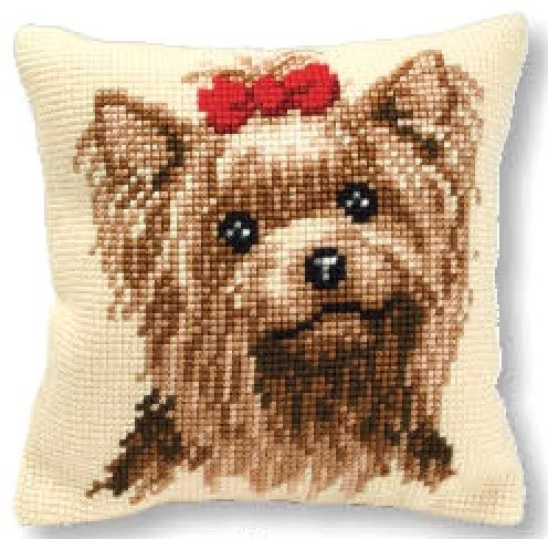 Vervaco cross stitch cushion PN-0008538 Yorkshire Terrier