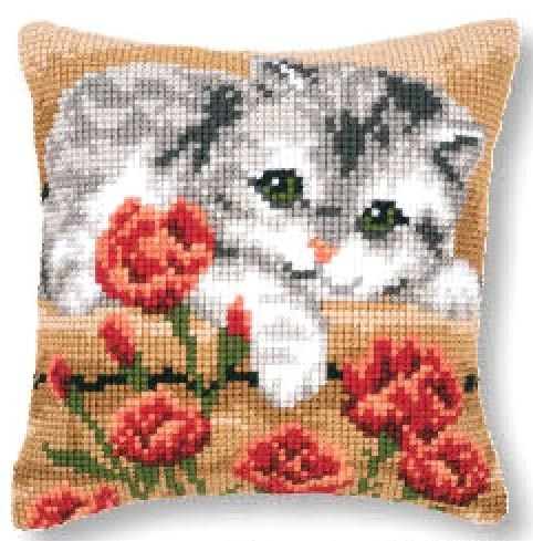 Vervaco cross stitch cushion PN-0145175 Cat in the flowers