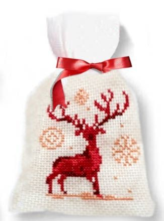 Cross-stitch kit bag - Christmas deer, Ravel