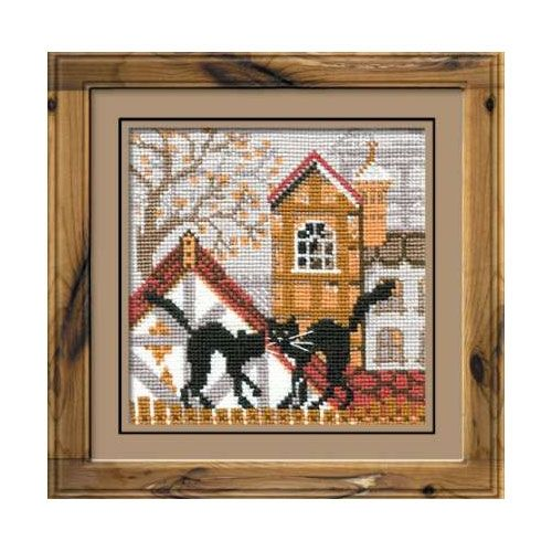 Cross-stitch kit Riolis 613 The city and cats. Autumn