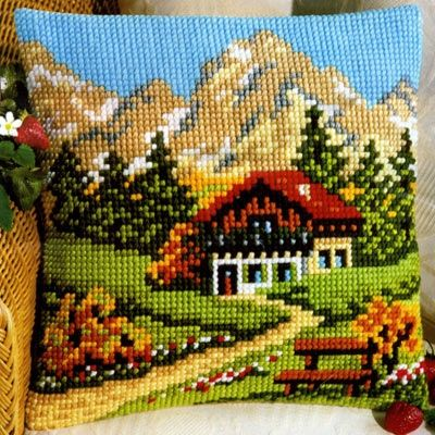 Vervaco cross stitch cushion PN-0008600 The cottage