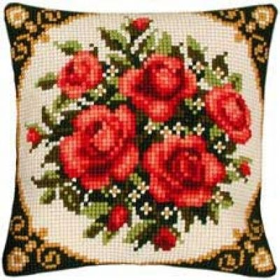 Vervaco cross stitch cushion PN-0008577 Red roses