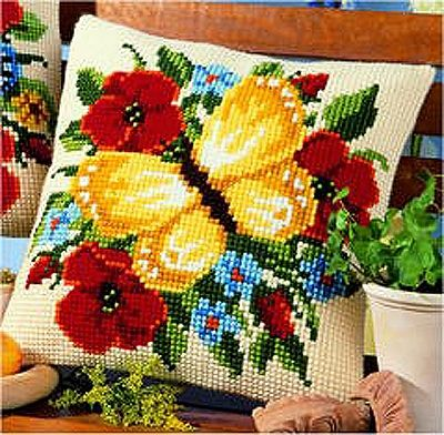 Vervaco cross stitch cushion PN-0008588 Yellow butterfly