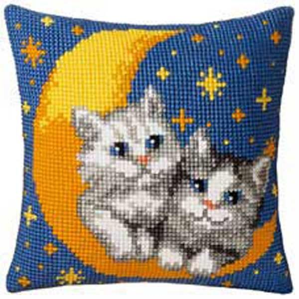 Vervaco cross stitch cushion PN-0008678 Moon cats