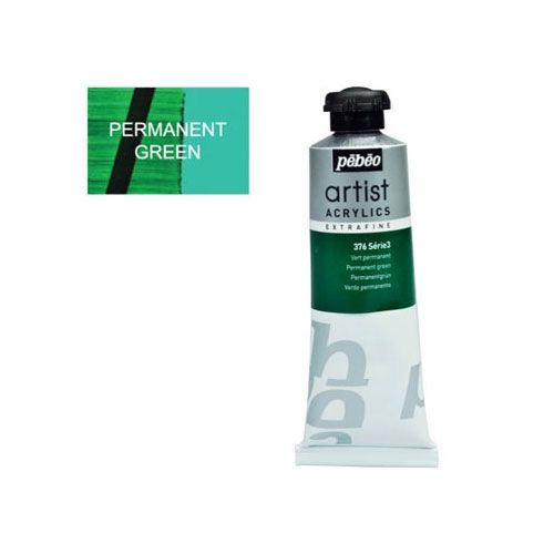 Acrylic paint Pebeo Extra Fine 376 permanent green 37 ml.