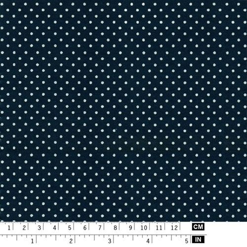 Dark blue fabric with 2mm white dots - Art Cotton