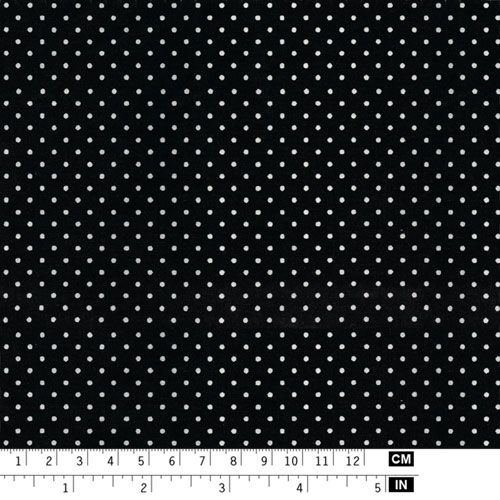 Black fabric with 2mm white dots - Art Cotton