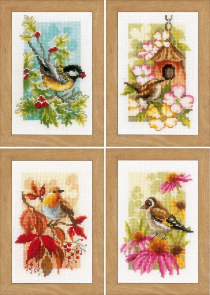 Vervaco cross-stitch PN-0155883 Buirds in the garden 3 pc.