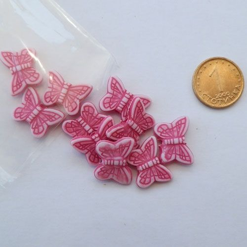 Fucsia butterfly beads