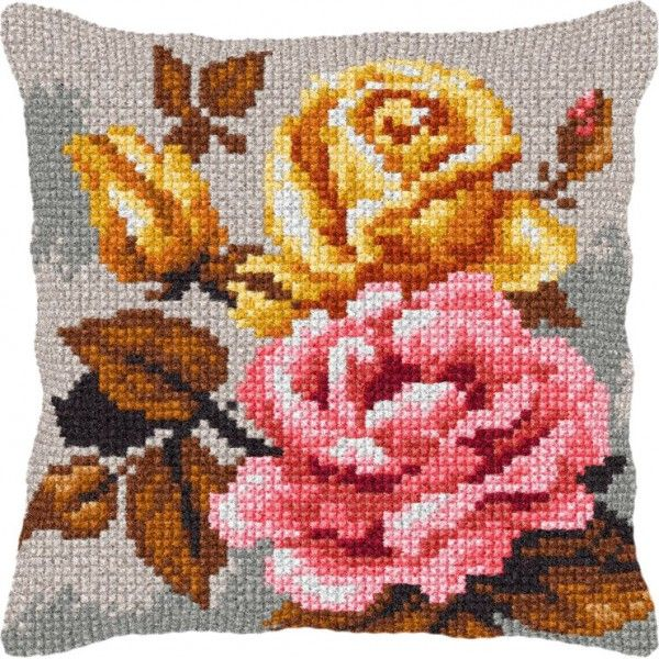 Cross-stitch cushion Orchidea 9250 Red roses