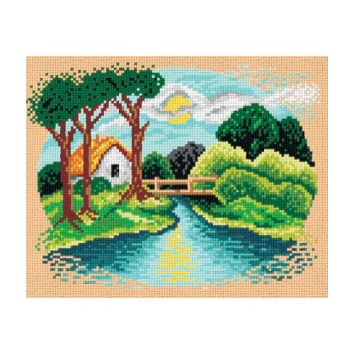 Printed embroidery Orchidea 1656 House by the river
