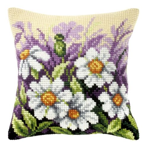 Daisies in the garden Cross-stitch cushion Orchidea 9122