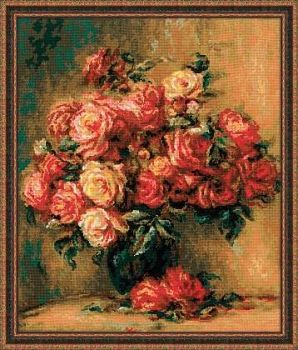 "Cross-stitch Riolis 1402 kit ""Bouquet of Roses"" after Pierre-August Renoir's painting"