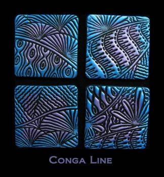 Rubber embossing stamp - Conga Line