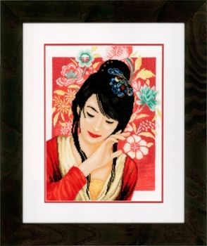 "Cross-stitch kit ""Asian girl with flowers"" - Lanarte PN-0149999"