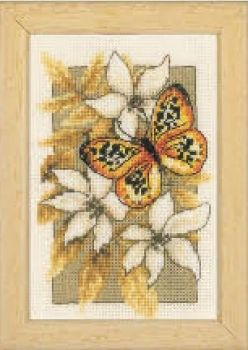 Vervaco cross-stitch kit - Butterfly in the flowers