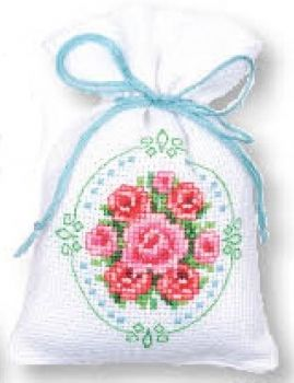 Cross-stitch bag Pink Roses