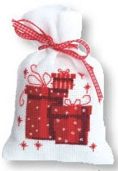 Cross-stitch bag Christmas presents