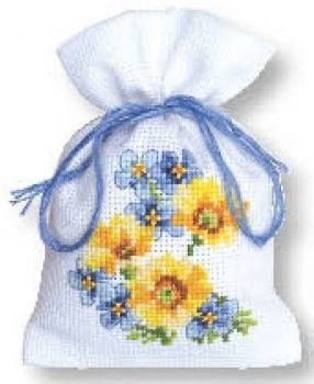 Cross-stitch bag Garden flowers