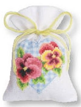Cross-stitch bag  Viola tricolor