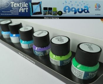 Nerchau textile paint kit - 6 paints Aqua
