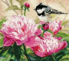 Alisa 1-22 cross-stitch Bird in the peonies