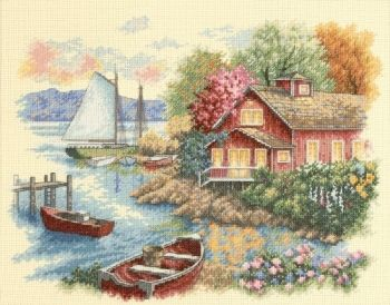 "Cross-stitch kit Dimensions ""Peaceful Lake House"""