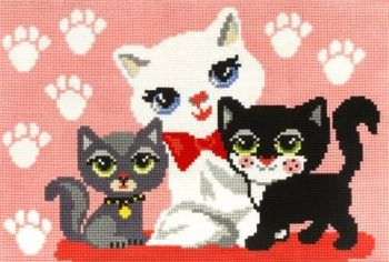 Cross-stitch kit Orchidea 9837 Kitten with momy