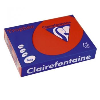 Цветна хартия А4 Clairefontaine 100 л. цвят Int.Coral Red
