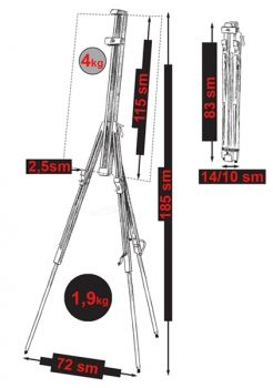 Folding drawing tripod model M29 AL