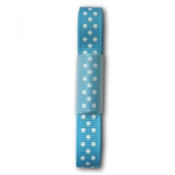 Ribbon - light blue with white dots