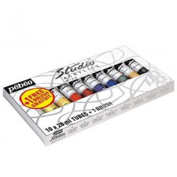 Acrylic paints set Studio Acrylics Pebeo 10 colours
