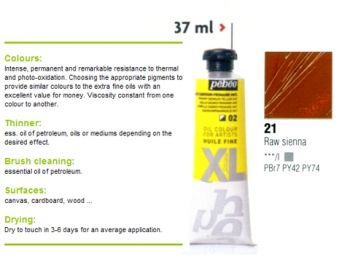 Oil color XL, 37ml - raw sienna 21, Pebeo