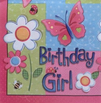 "Napkin for decoupage ""Happy birthday girl"""
