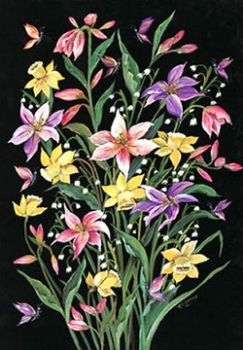 Decoupage paper Finmark Spring flowers on black background