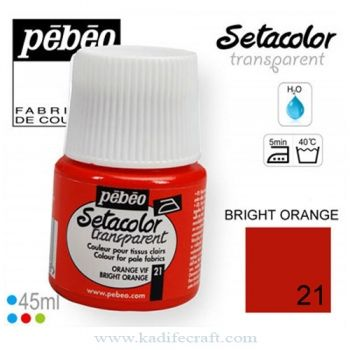 Textile paints Pebeo Setacolor Transparent 21 bright orange