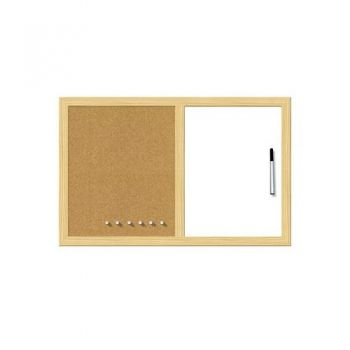 White & cork board with wooden frame 40 / 60 cm