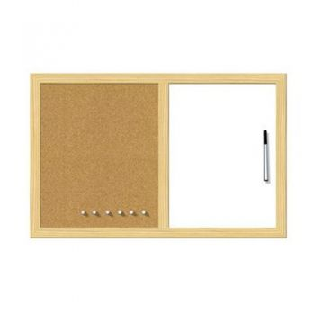 White & cork board with wooden frame 60 / 90 cm