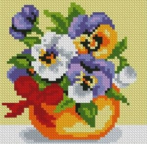 "Mosaic with crystals - ""Bouquet of violets"""