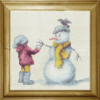"Cross-stitch ""Smiling snowman with blue hat"""