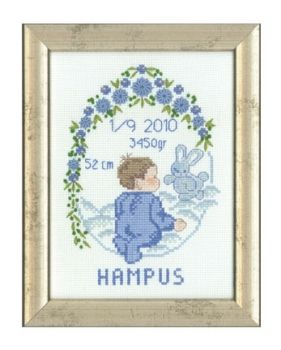 "Cross-stitch kit Permin ""Blue Baby Boy Sampler"""