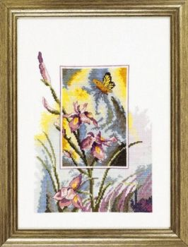 "Cross-stitch kit Permin ""Iris with butterfly"""