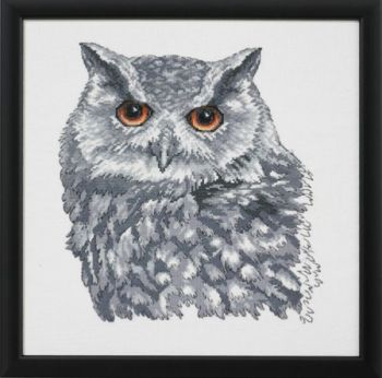 "Cross-stitch kit Permin ""Owl in grey"" F5615"