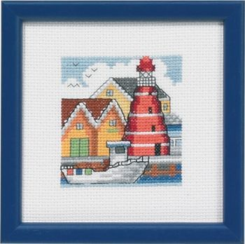 "Cross-stitch kit Permin ""Red lighthouse habour"""