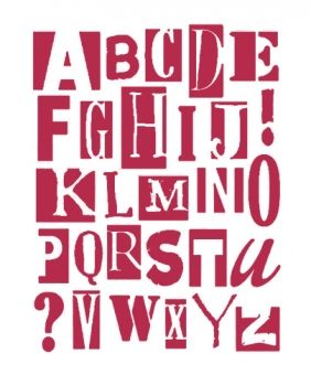 Stencil for decoration - Art latin alphabet, Stamperia KSTD004