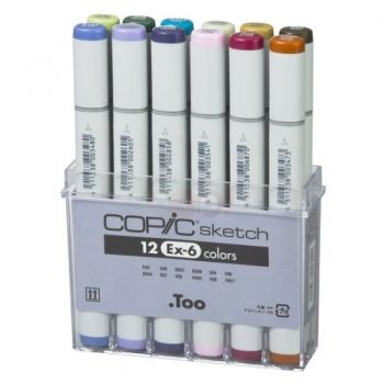 Set of 12  Copic markers EX-6