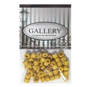 Beads Gallery flat double wood yellow