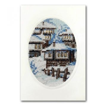 Cross-stitch kit card 39121 - Winter in mountain village, Ravel