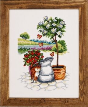 "Cross-stitch kit Permin ""Cat by flowers"""