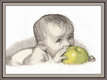"Cross-stitch kit Ram ""Baby with apple"""